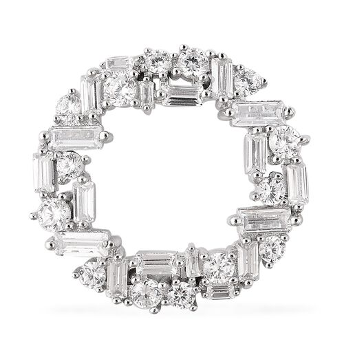 ELANZA Simulated Diamond Open Circle Pendant in Rhodium Plated Sterling Silver