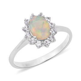 Ethiopian Welo Opal (Ovl), Natural Cambodian White Zircon Ring in Rhodium Overlay Sterling Silver 1.430 Ct.
