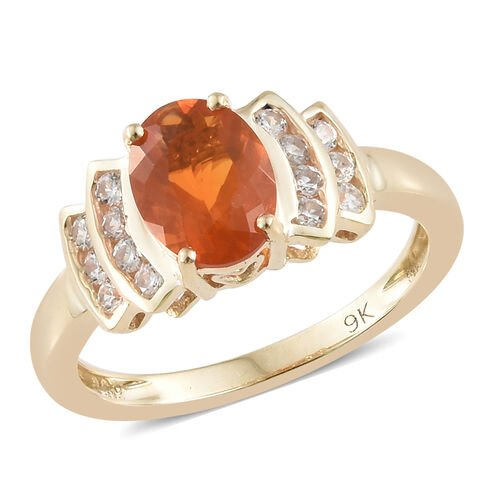 1.25 Carat AAA Jalisco Fire Opal and Cambodian Zircon Solitaire Design Ring in 9K Gold 2.36 Grams