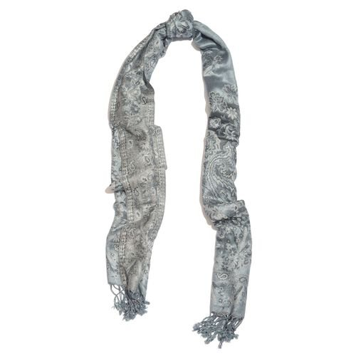 Grey Colour Floral and Paisley Pattern Reversible Jacquard Scarf with Tassels (Size 180X70 Cm)