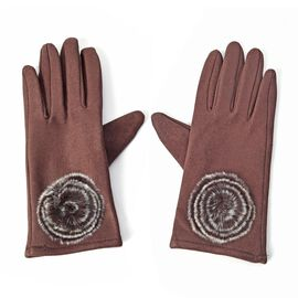 Solid Colour Women Winter Gloves with Rose Shaped Faux Fur on the Wrist (Size 8.9x22.9 Cm) - Chocola