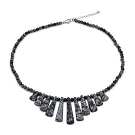 Snow Flake Obsidian Necklace (Size 18 with 2 inch Extender) in Stainless Steel 138.74 Ct.