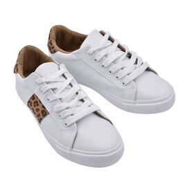 White and Leopard Canvas Trainers