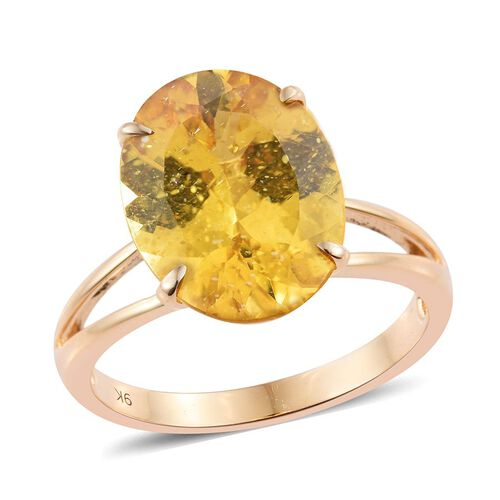 One Time Deal- Very Rare AAA Golden Honey Apatite (Ovl) Solitaire Ring in 9K Yellow Gold. Total Ct Wt 9.00 Ct.