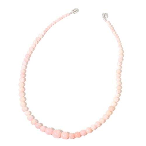 20 Inch Pink Opal Beaded Necklace in Rhodium Plated Sterling Silver 132.05 Ct