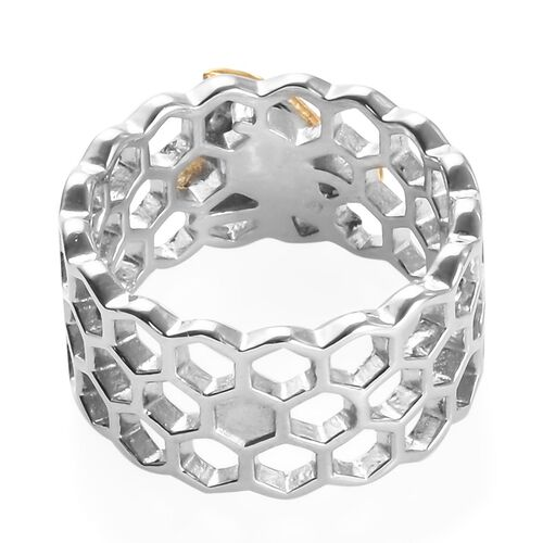 Platinum and Yellow Gold Overlay Sterling Silver Honeycomb Bee Band Ring