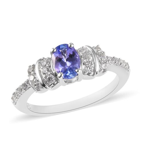 0.91 Ct AA Tanzanite and Zircon Solitaire Design Ring in Platinum Plated Sterling Silver