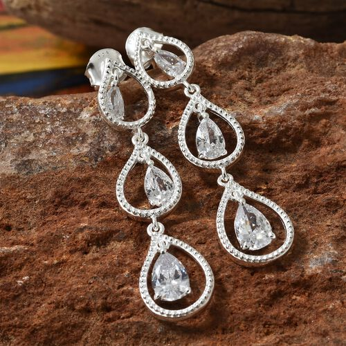 ELANZA Simulated Diamond (Pear) Chandelier Earrings (with Push Back) in Sterling Silver, Silver wt 4.42 Gms.