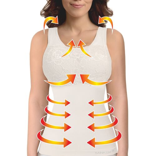 SANKOM SWITZERLAND Patent Vest with Bra and Lace - White Colour (Size S/M)