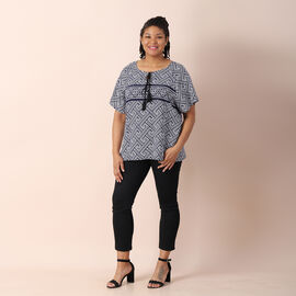 Jovie Viscose Woven Print Short Sleeved With Classic Fret  Pattern Top - Black &White