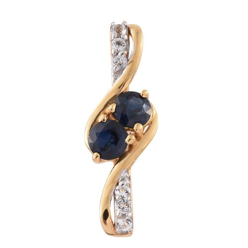 Kanchanaburi Blue Sapphire (Rnd), White Topaz Pendant in 14K Gold Overlay Sterling Silver 0.685 Ct.