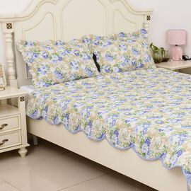 3 Piece Set  - Microfiber Blooming Flower Pattern Double/King Size Quilt (Size 260x240) and 2 Pillow