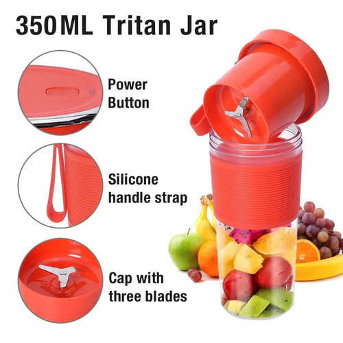Rechargeable and Portable 350 ml Juicer Blender with Three Blades - Red