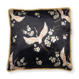 Designers Digitally Printed Silky Velvet  Birds Cushion Cover (Size 43x43cm) - Black