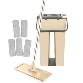 Davis & Grant Flat Mop with Dual Bucket - 2 heads - Khaki