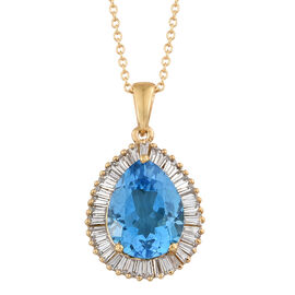 TJC Launch - 11.75 Ct Marambaia Topaz and Natural Cambodian Zircon Halo Pendant with Chain in Gold Plated Silver 5.25 gms