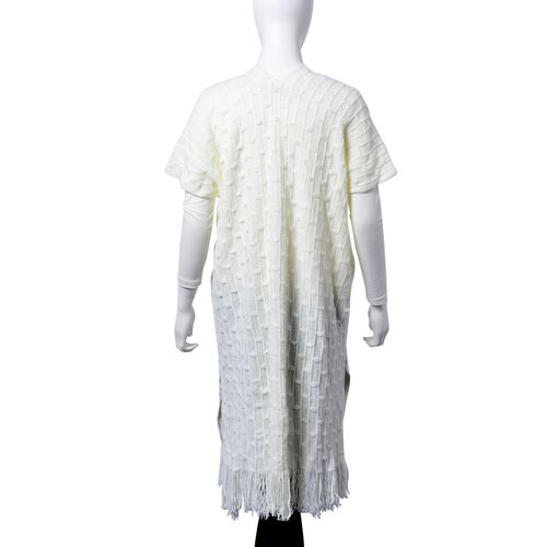 White Bamboo Knit Poncho with Tassels (One Size Fits All)