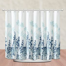 Leaves Printed Waterproof Shower Curtains (Size 180x180cm) with 12 Hooks - White