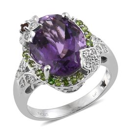 9.25 Ct GP Amethyst and Multi Gemstone Halo Ring in Platinum Plated Silver 6.53 Grams