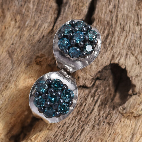 Close Out Deal - Blue Diamond (I2-I3) Stud Earrings (with Push Back) in Platinum Overlay Sterling Silver 0.200 Ct.