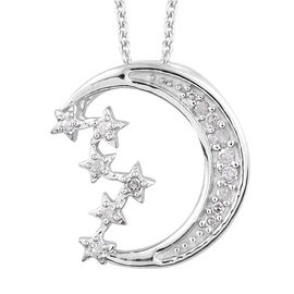 Diamond Crescent Moon and Star Pendant with Chain in Platinum Plated Sterling Silver 2.50 Grams