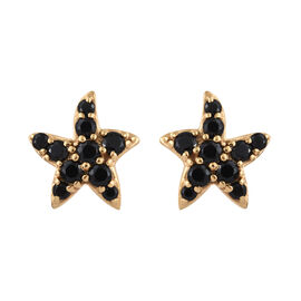 Boi Ploi Black Spinel (Rnd) Star Fish Earrings (with Push Back) in 14K Gold Overlay Sterling Silver