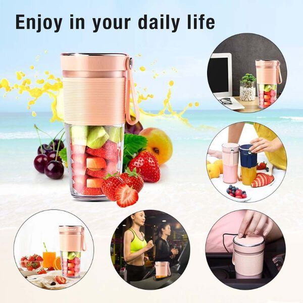 Rechargeable and Portable 350 ml Juicer Blender with Three Blades - Pink