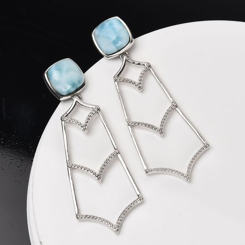 AA Larimar Dangle Earrings in Platinum Overlay Sterling Silver 6.50 Ct, Silver wt 4.80 Gms