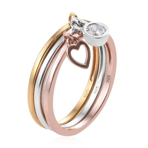 3 Piece Set - J Francis - Platinum, Yellow and Rose Gold Overlay Sterling Silver (Rnd) Ring with Charm Made with Swarovski Zirconia