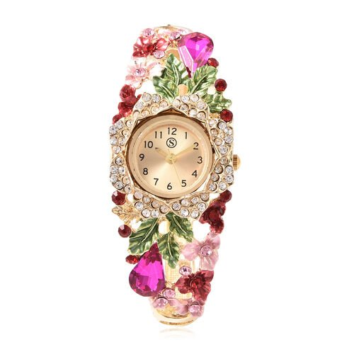STRADA Japanese Movement Simulated Pink Sapphire and Multi Colour Austrian Crystal Floral Garden The