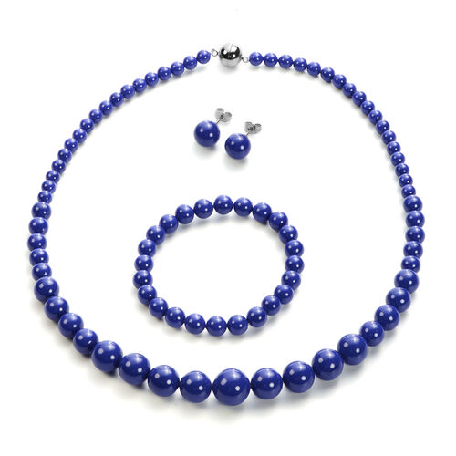 3 Piece Set - Tanzanite Colour Shell Pearl Stretchable Bracelet (Size 7), Necklace (Size 20 with Mag