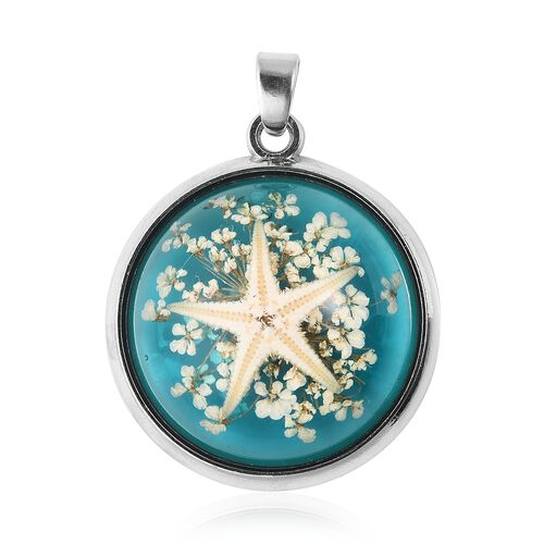 Pressed Starfish and Flower Pendant in Silver Tone