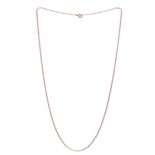 Rose Gold Overlay Sterling Silver Diamond Cut Chain (Size 24), Silver wt 3.80 Gms.