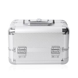 Cosmetic Train Case with 4 Extendable Trays and Top 3 Trays are Removable (Size 29x19x19 Cm) - Silve