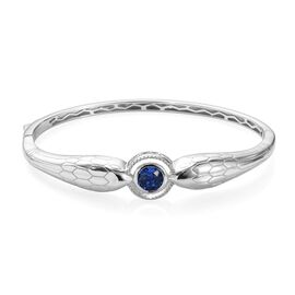J Francis Sapphire Colour Crystal from Swarovski Bangle in Platinum Plated 7.25 Inch