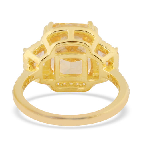 ELANZA Simulated Yellow Diamond and Simulated White Diamond Ring in Yellow Gold Overlay Sterling Silver 7.80 Ct.