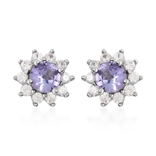 1 Carat Tanzanite and Zircon Floral Stud Earrings in Rhodium Plated Silver