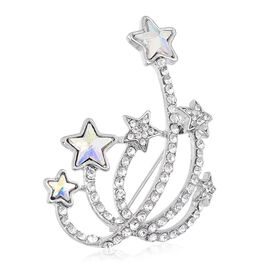 Simulated Magic White Austrian Crystal Star with Twinkling Trail Design Brooch in Silver Tone