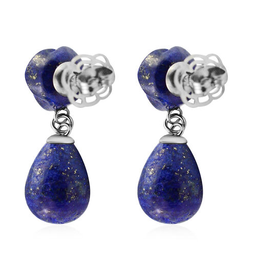 Lapis Lazuli Earrings (with Push Back) in Stainless Steel 38.00 Ct.