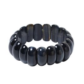 307 Carat Blue Tiger Eye Stretchable Beaded Bracelet 7 Inch