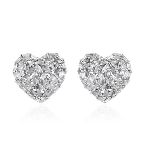 GP Diamond (Bgt), Kanchanaburi Blue Sapphire Heart Stud Earrings (with Push Back) in Platinum Overlay Sterling Silver 0.500 Ct,