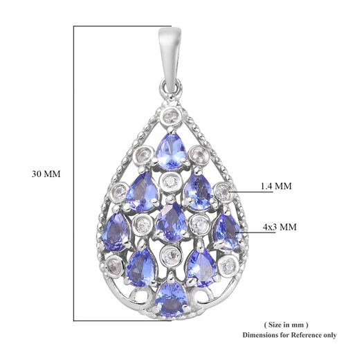 AAA Tanzanite and Natural Cambodian Zircon Pendant in Platinum Overlay Sterling Silver 1.40 Ct.