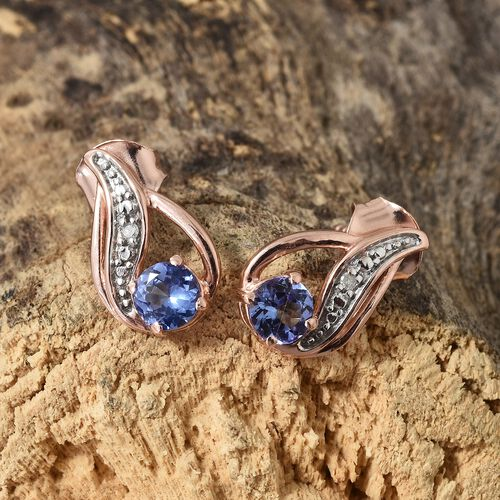 Tanzanite (Rnd),Diamond Earrings (with Push Back)  in Rose Gold and Platinum Overlay Sterling Silver 0.75 CT
