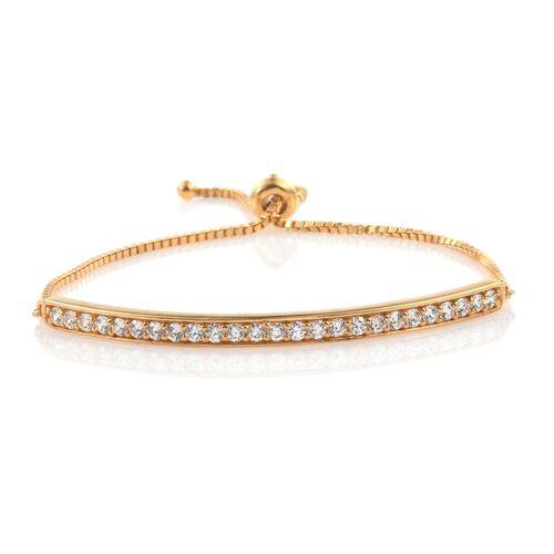 J Francis - 14K Gold Overlay Sterling Silver (Rnd) Adjustable Bracelet (Size 7 to 7.5) Made with SWAROVSKI ZIRCONIA