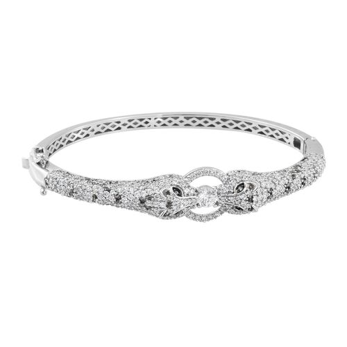 J Francis SWAROVSKI ZIRCONIA Panther Bangle in Platinum Plated Sterling Silver 7.5 Inch 22.90 Grams