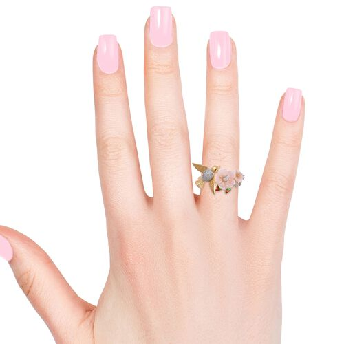 Jardin Collection - Pink Mother of Pearl and Natural White Cambodian Zircon Enameled Flower and Bird Ring in Rhodium and Yellow Gold Overlay Sterling Silver