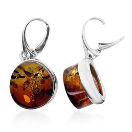Natural Baltic Amber Lever Back Earrings in Sterling Silver, Silver wt 5.10 Gms