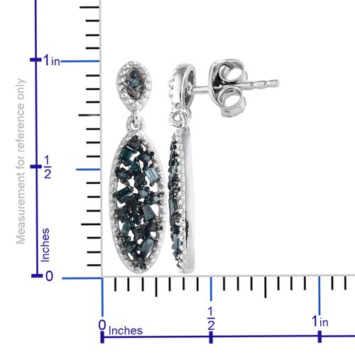 Diamond (Bgt and Rnd) Earrings (with Push Back) in Platinum and Blue Overlay Sterling Silver 0.330 Ct