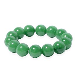 389.50 Ct AAA Green Jade Stretchable Beaded Bracelet 6.5 Inch