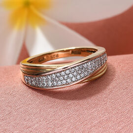 J Francis Three Tone Overlay Sterling Silver Ring Made with SWAROVSKI ZIRCONIA
